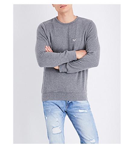 TRUE RELIGION Horseshoe cotton-blend sweatshirt (Dk+grey