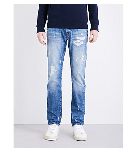 TRUE RELIGION Rocco relaxed-fit skinny jeans (Glory+blue