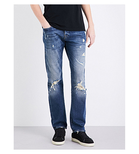 TRUE RELIGION Rocco relaxed-fit skinny jeans (Cobalt+blue