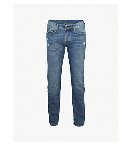 TRUE RELIGION Rocco relaxed-fit skinny jeans (Twill+blue