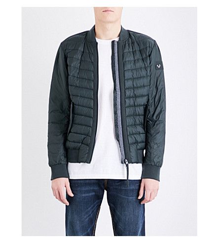TRUE RELIGION Lightweight shell-down bomber jacket (Night+green