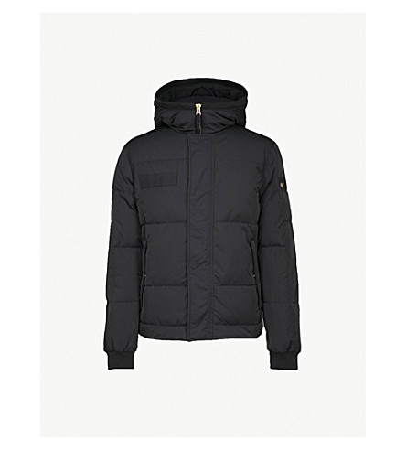 TRUE RELIGION Hooded quilted shell-down jacket (Jet+black