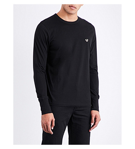 TRUE RELIGION Metallic logo-detail cotton-jersey T-shirt (Black
