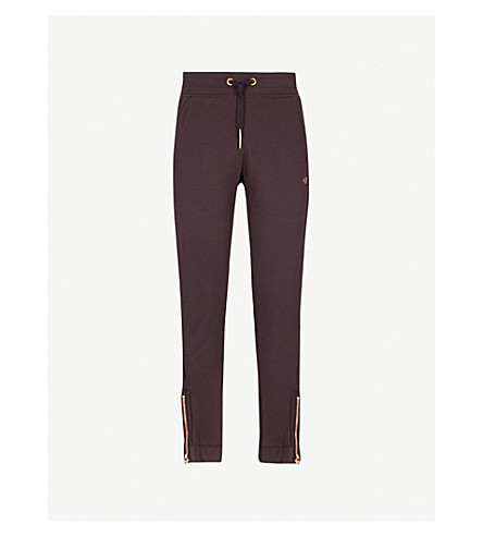TRUE RELIGION Zip embellished cotton-jersey jogging bottoms (Plum