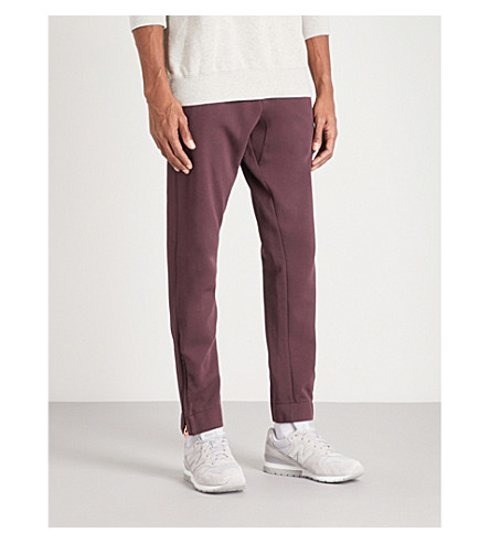 TRUE RELIGION Zip embellished cotton-jersey jogging bottoms (Plum