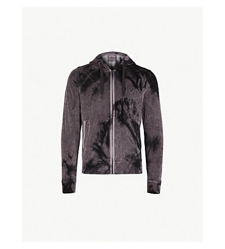 TRUE RELIGION Distressed velvet hoody (Khaki/black