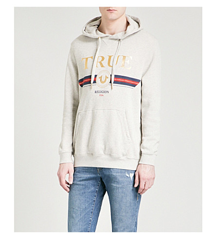 TRUE RELIGION Logo-detail cotton-jersey hoody (Grey+marl