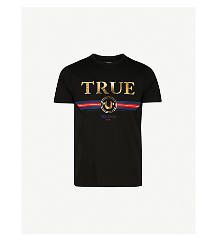 TRUE RELIGION Metallic-print cotton-jersey T-shirt (Black