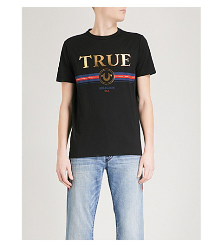 TRUE RELIGION Metallic-print cotton-jersey T-shirt (Black