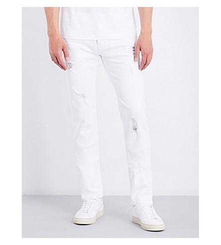 TRUE RELIGION Rocco distressed relaxed-fit skinny stretch-denim jeans (Optic+white