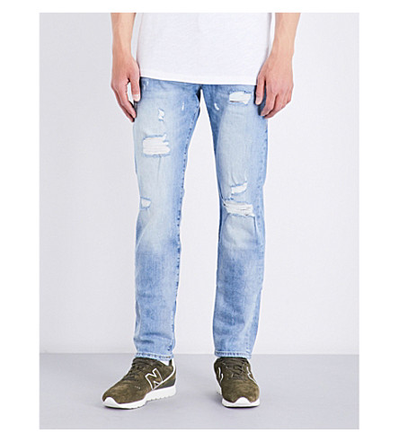 TRUE RELIGION Rocco distressed slim-fit skinny stretch-denim jeans (Blue