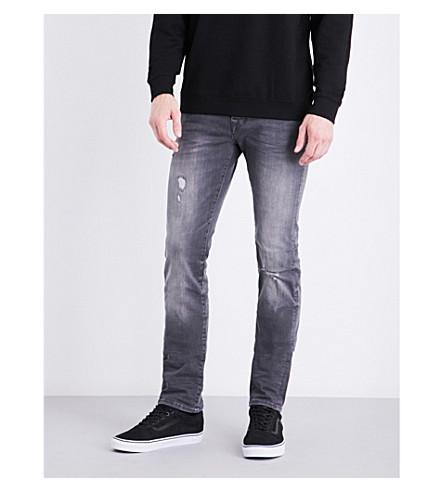 TRUE RELIGION Rocco distressed skinny mid-rise stretch-denim jeans (Grey