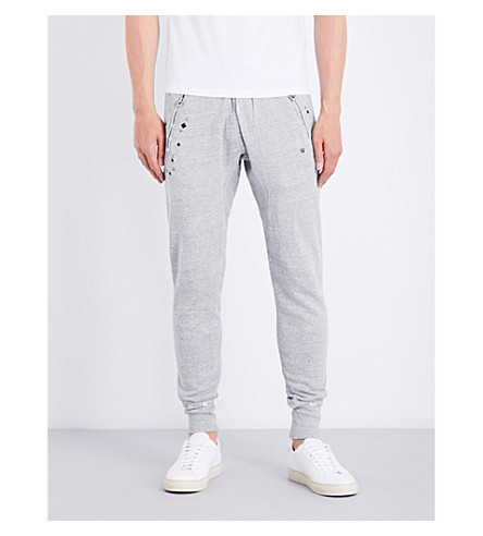 TRUE RELIGION Studded distressed cotton-jersey jogging bottoms (Heather+grey