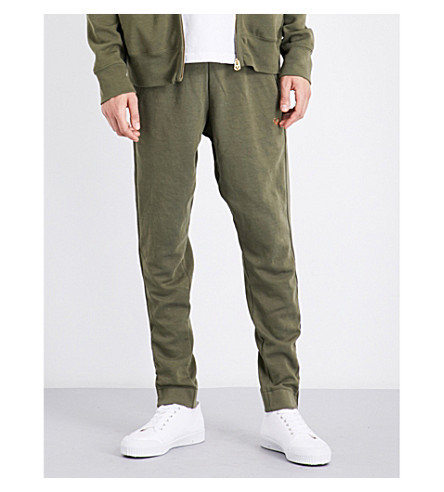 TRUE RELIGION Tapered cotton-blend jogging bottoms (Army+green