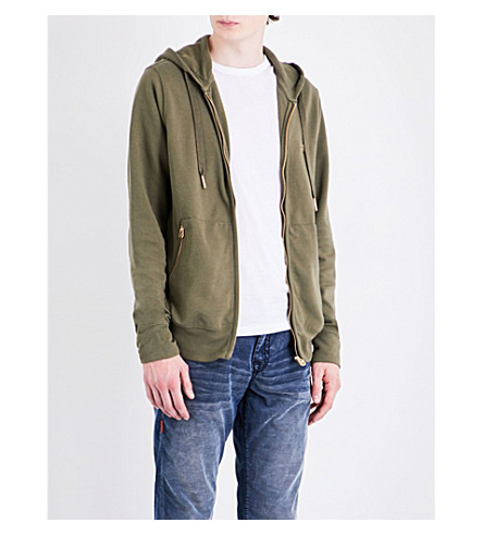 TRUE RELIGION Logo-detail cooton-blend hoody (Army+green