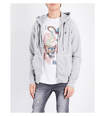 TRUE RELIGION Stud-detail cotton hoody (Heather+grey