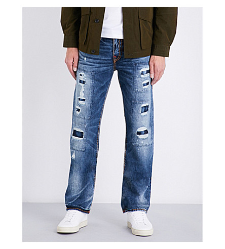 TRUE RELIGION Ricky distressed relaxed-fit straight-leg stretch-denim jeans (Dktm+mended+brwl