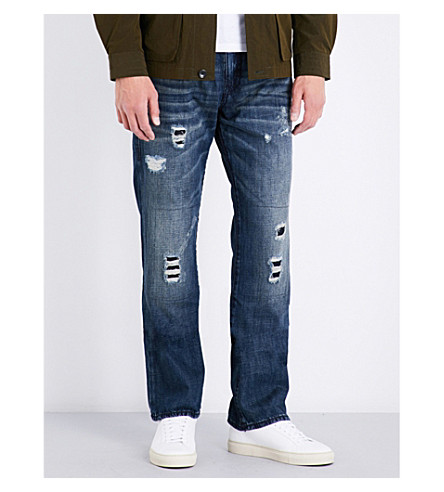 TRUE RELIGION Ricky distressed relaxed-fit straight-leg denim jeans (Dpvd+mnded+frght