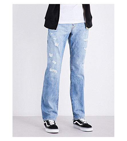 TRUE RELIGION Ricky relaxed-fit straight-leg stretch-denim jeans (Dxsm+worn+riff