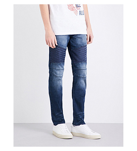 TRUE RELIGION Rocco Biker relaxed-fit skinny jeans (Rebel+race+blue