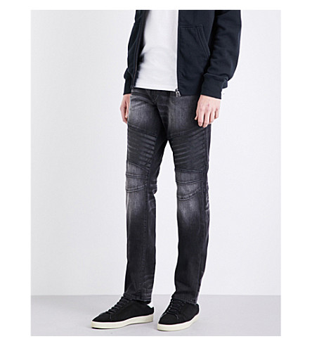 TRUE RELIGION Rocco Biker relaxed-fit slim jeans (Rebel+race+grey