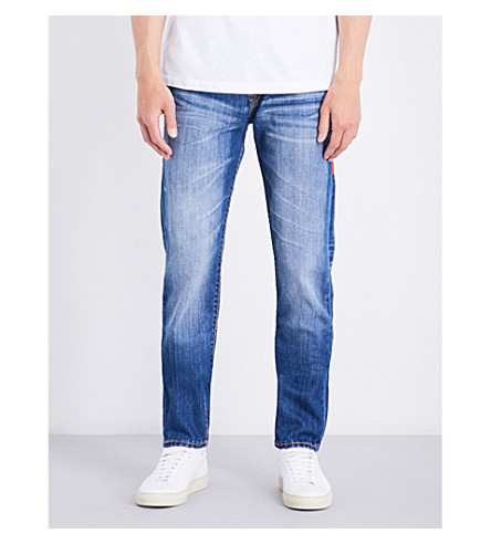 TRUE RELIGION Rocco relaxed-fit skinny jeans (Dqkm+blue+metal