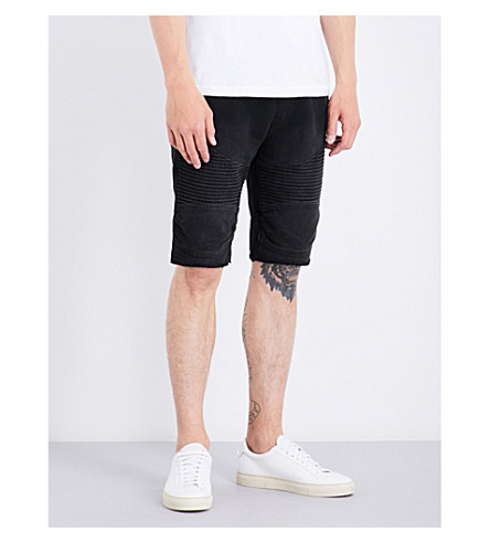 TRUE RELIGION Moto relaxed-fit cotton shorts (Washed+black