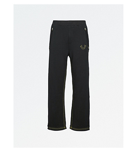 TRUE RELIGION Logo-embroidered cotton-jersey jogging bottoms (Jet+black