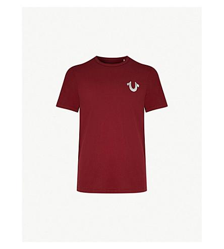TRUE RELIGION Metallic logo-print cotton-jersey T-shirt (Oxblood+w/+silver