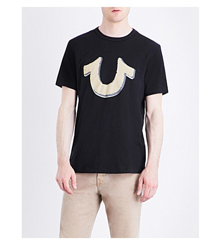 TRUE RELIGION Horseshoe-motif cotton-jersey T-shirt (Black