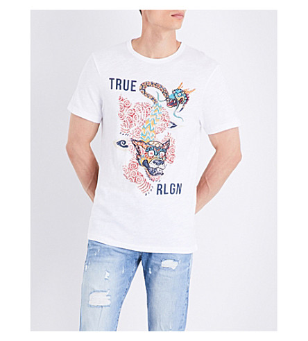 TRUE RELIGION Guardian printed cotton-jersey T-shirt (Optic+white
