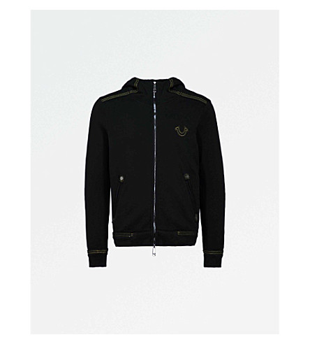 TRUE RELIGION Logo-embroidered cotton-jersey hoody (Jet+black