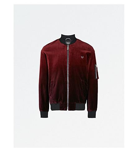 TRUE RELIGION Ombre velvet bomber jacket (Oxblood+ombre