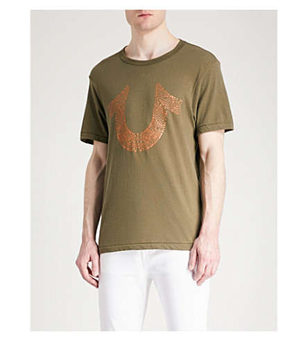 TRUE RELIGION Circuits logo-print cotton-jersey T-shirt (Militant+green