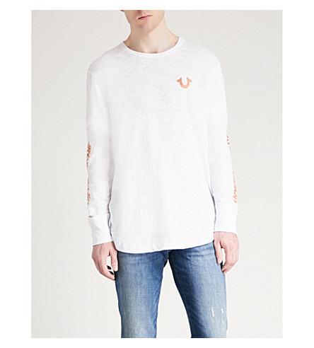 TRUE RELIGION Metallic-logo cotton-jersey top (Optic+white