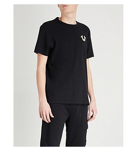 TRUE RELIGION Rubberised-logo cotton-jersey T-shirt (Black