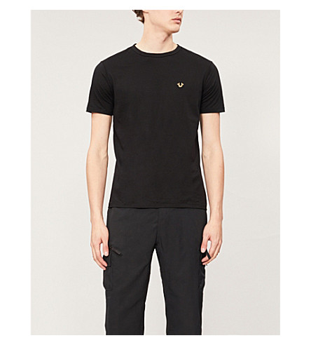 TRUE RELIGION Metallic-logo cotton-jersey T-shirt (Black