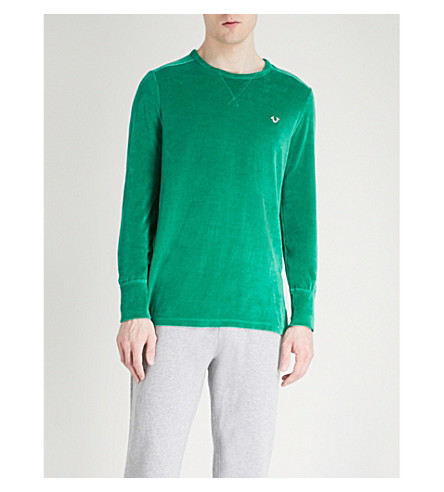 TRUE RELIGION Velvet crewneck sweatshirt (Kelly+green