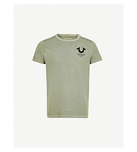 TRUE RELIGION Logo-print cotton-jersey T-shirt (Dusty+olive