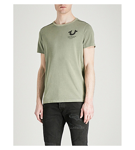 TRUE RELIGION Logo-print cotton-jersey T-shirt (Dusty+olive