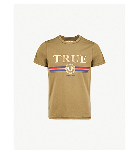 TRUE RELIGION Branded-print cotton-jersey T-shirt (Dusty+olive