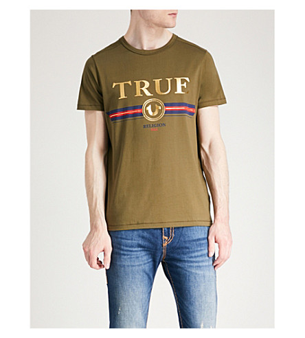 print cotton jersey shirt RELIGION TRUE Dusty olive T Branded t6xEpqwS