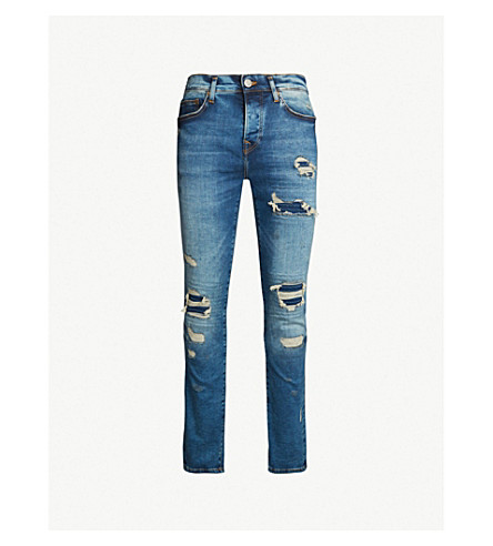 TRUE RELIGION Rocco skinny-fit jeans (Light+blue+wash