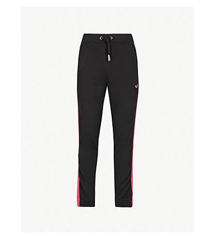 TRUE RELIGION Side-panelled cotton-blend jogging bottoms (Black+/+pink