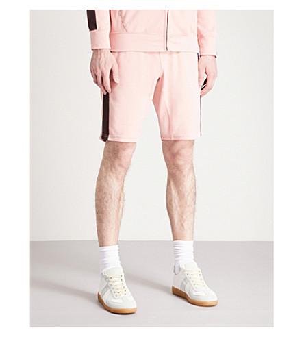 TRUE RELIGION Side-stripe cotton-jersey shorts (Chalk+pink
