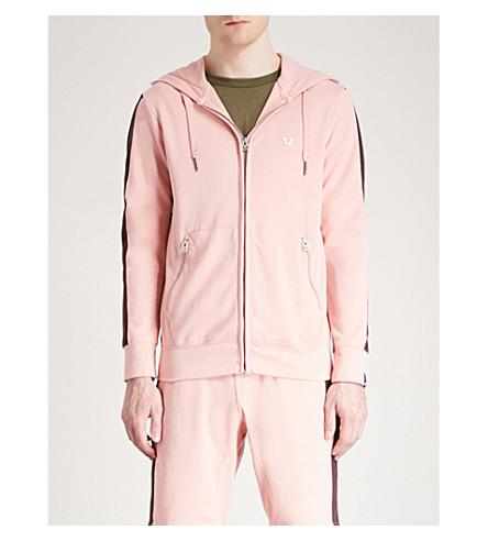 TRUE RELIGION Side-stripe cotton-jersey hoody (Chalk+pink