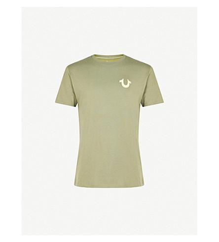 TRUE RELIGION Metallic logo-print cotton-jersey T-shirt (Military+green