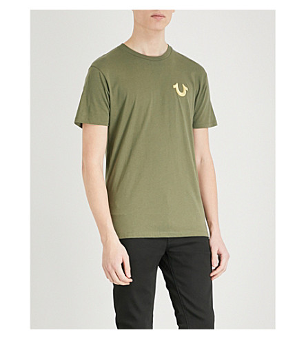 TRUE RELIGION Metallic logo-print cotton-jersey T-shirt (Military+green