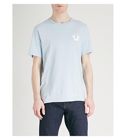 TRUE RELIGION Logo-printed cotton-jersey T-shirt (Pale+blue
