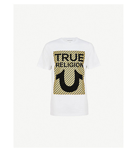 TRUE RELIGION Logo-appliqué cotton-jersey T-shirt (White